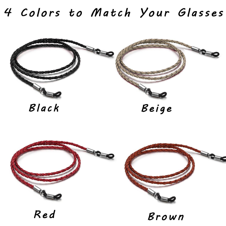 4 Pack Eyeglasses Holder Strap Cord Aphlos Tomorotec Eyeglass Retainer 4 Colors PREMIUM LEATHER Eyeglasses String Holder Chain Necklace Glasses Cord Lanyard