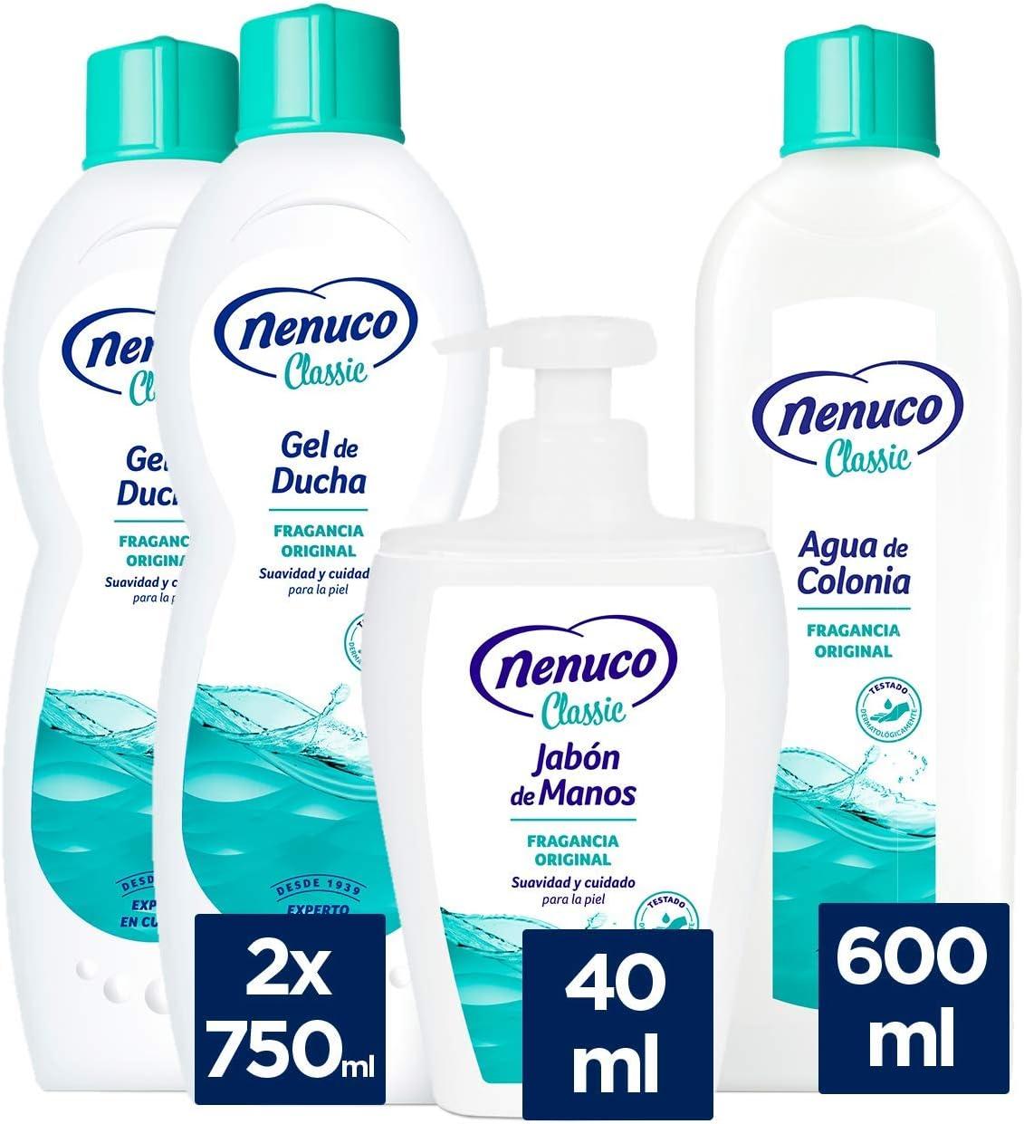 Nenuco Pack Cuidado Classic con 2 geles de ducha, 1 colonia y 1 jabón de manos