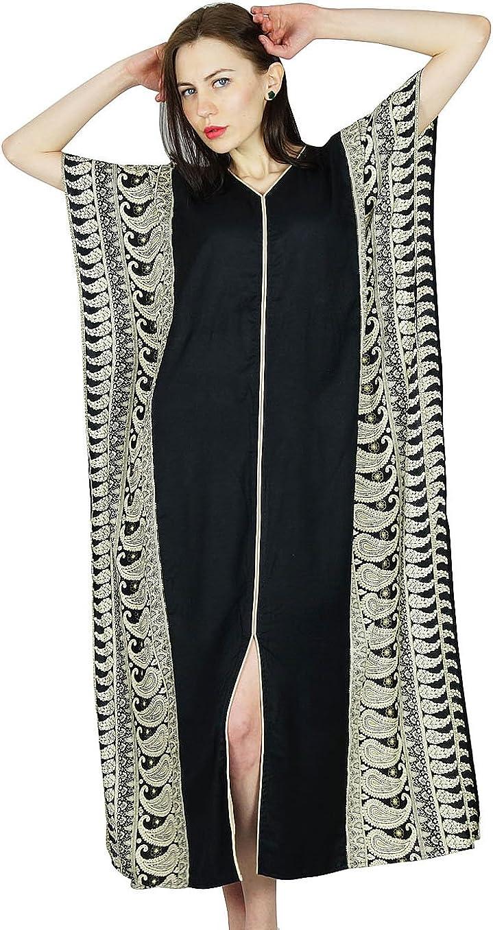 Bimba Femmes Caftan Long Rayon Caftan Noir Maxi Top De Robe