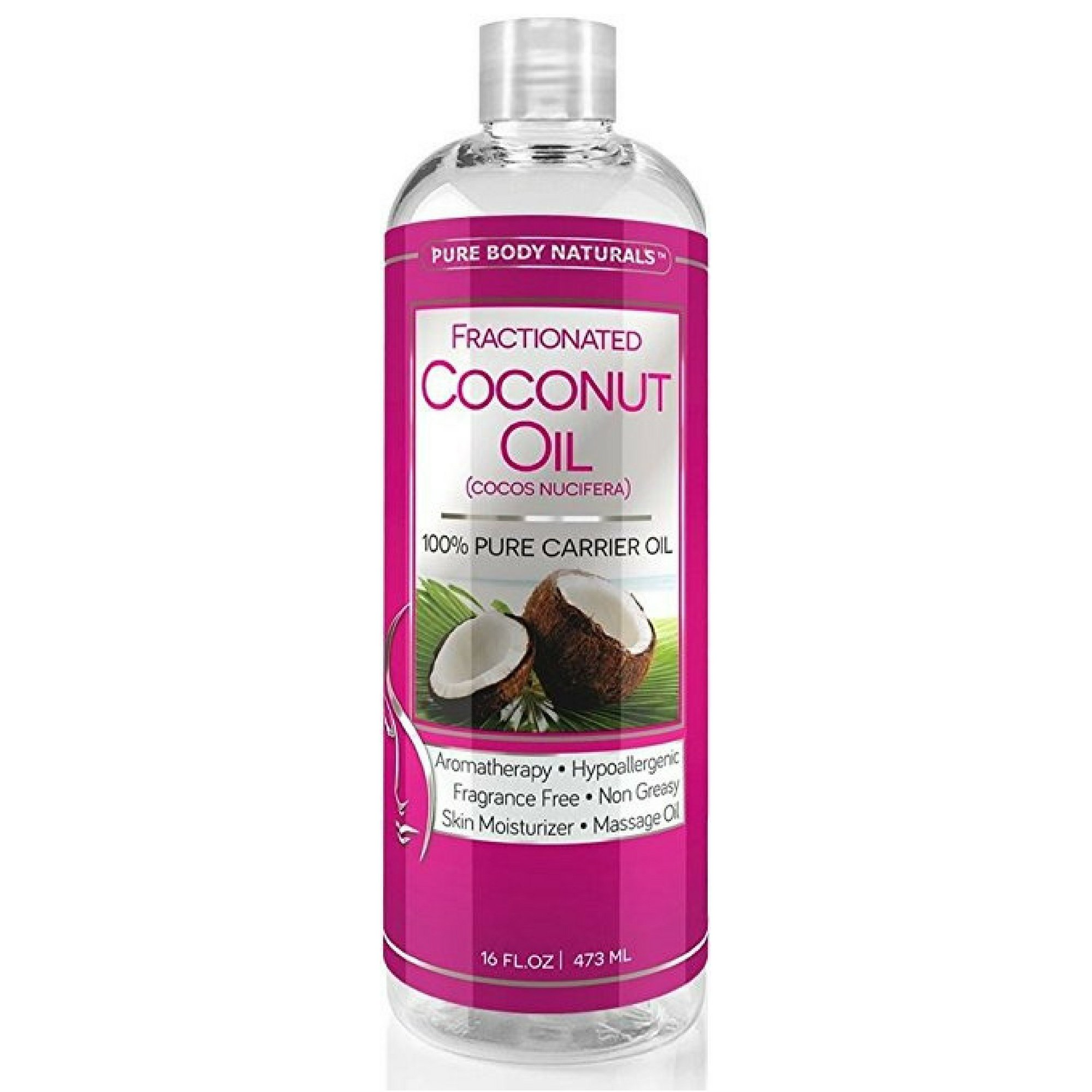 Fractionated Coconut Oil for Hair and Skin, 100% Natural and Pure, Liquid Aromatherapy Carrier Oil for Diluting Essential Oils, Hair Growth & Skin Moisturizer, Great for DIY by Pure Body Naturals