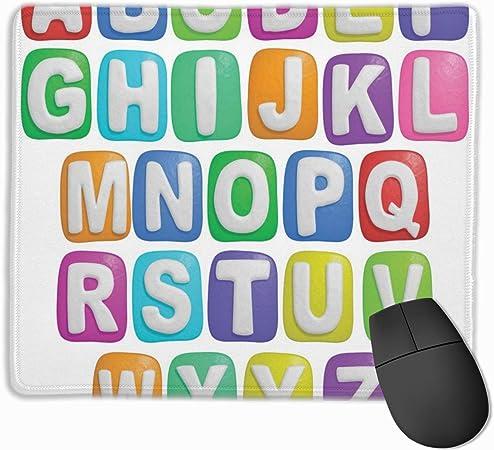 HUAYEXI Stoff Mousepad,Interessante Lebensmittel Alphabet Kinder p/ädagogisch,Rutschfest eeignet f/ür B/üro und Gaming Maus