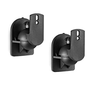 WALI Dual Speaker Wall Mount Brackets Multiple Adjustments for Bookshelf, Surround Sound Speakers, Hold Up to 7.7lbs, (SWM202), 2 Packs, Black