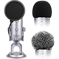 Microphone Cover with Pop Filter, 3 in 1 Mic Furry Windscreen Microphone Foam Cover Pop Filter Compatible with Blue Yeti…