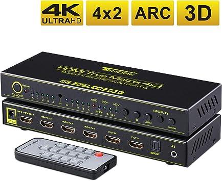 Tendak Commutateur Multiple 4 entr/ées HDMI 4 entr/ées 2 Sorties HDMI 4K 3D pour lecteurs Blu-Ray Sky HDTV Xbox Prise Audio Optique SPDIF Toslink 3,5 mm avec t/él/écommande IR Compatible Arc