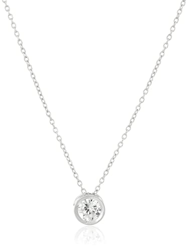Amazon platinum plated sterling silver round cut 65mm cubic platinum plated sterling silver round cut 65mm cubic zirconia pendant necklace 18quot aloadofball Gallery
