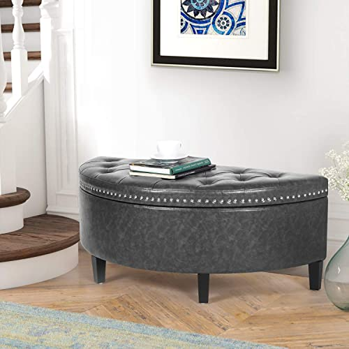 Homebeez Storage Ottoman Bench Tufted Faux-Leather Half Moon Footstool