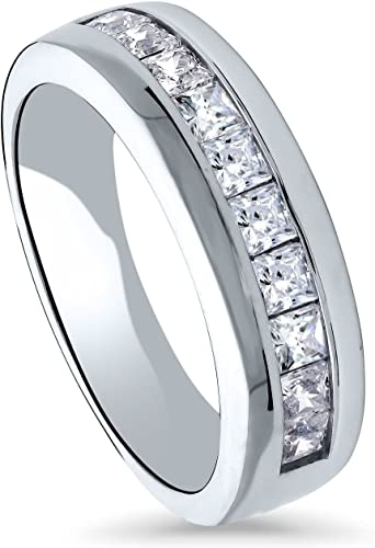 BERRICLE Sterling Silver Channel Set CZ Wedding Half Eternity Band Ring
