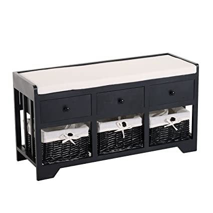 Brilliant Amazon Com Homcom 3 Drawer 3 Basket Padded Storage Bench Uwap Interior Chair Design Uwaporg