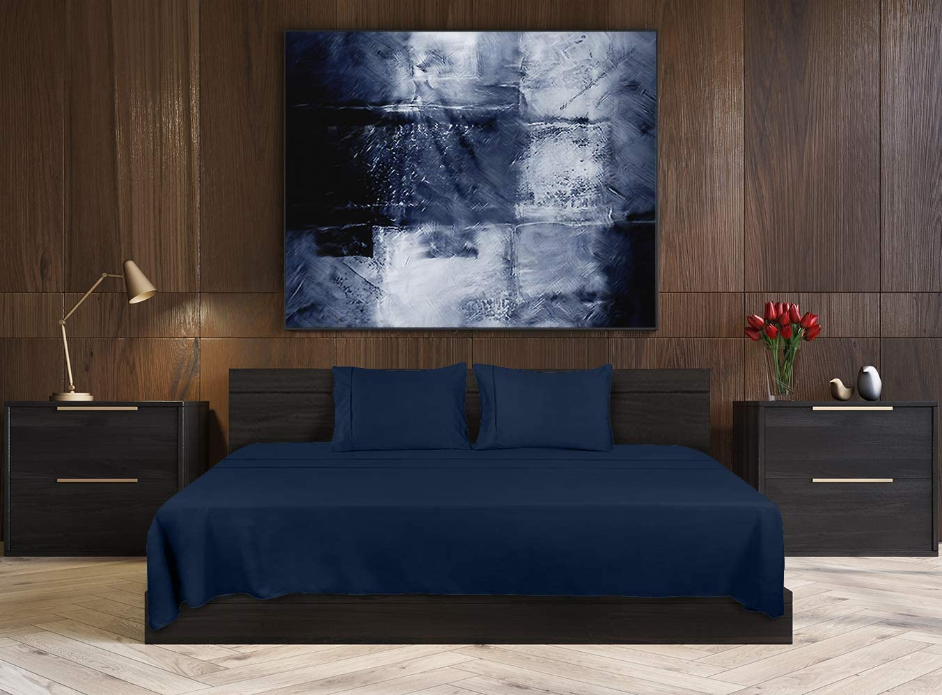 Utopia Bedding Bed Sheet Set - 4 Piece Queen Bedding - Soft Brushed Microfiber Fabric - Shrinkage & Fade Resistant - Easy Care (Queen, Navy): Home & Kitchen