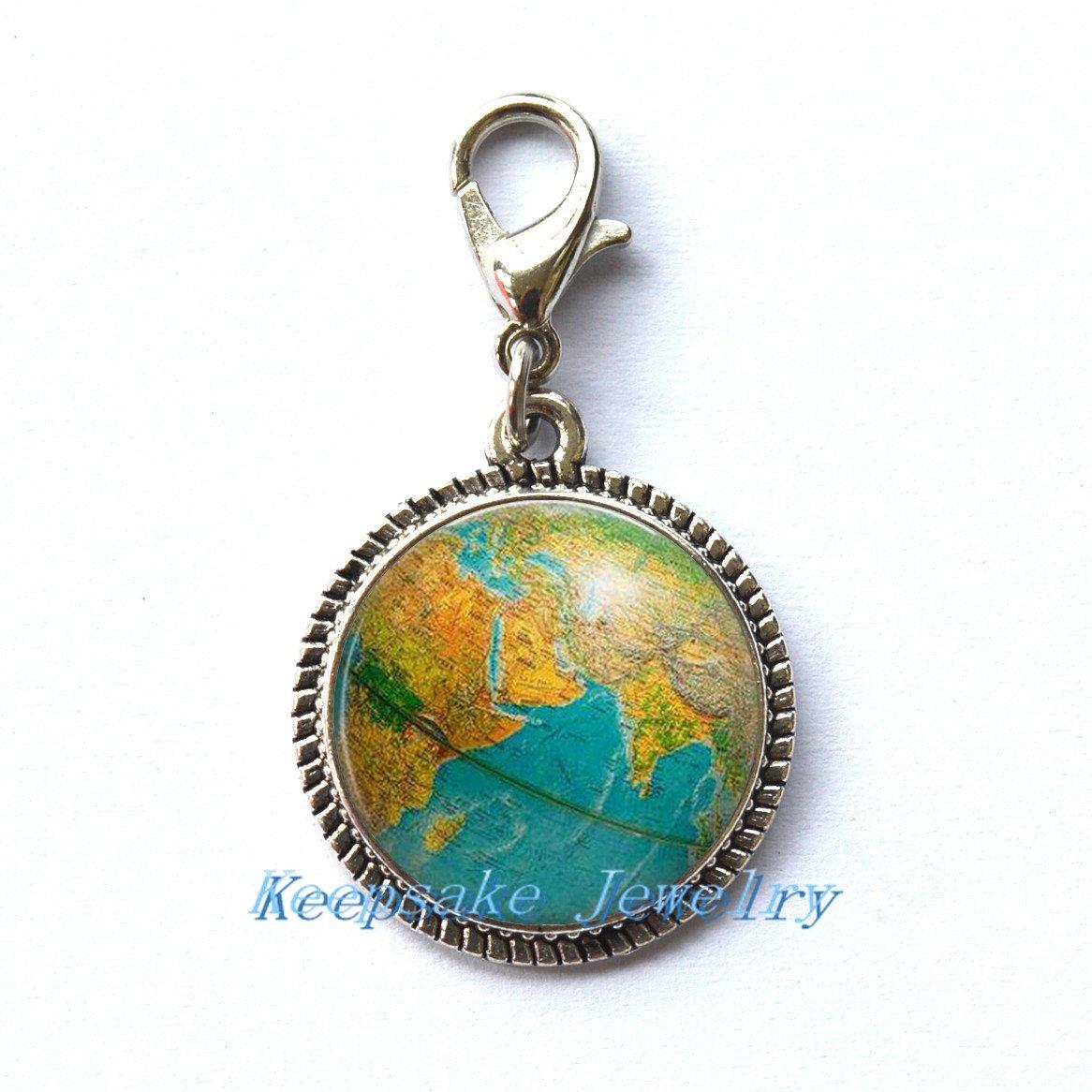 モダンチャームジッパープル、ファッションジッパープル、Globeジッパープル、地球チャームジッパープル先生、Globeアートチャームジッパープル、ギフト、世界旅行Adventurer、世界マップGlobe jewelry-rc311   B077KK43BN