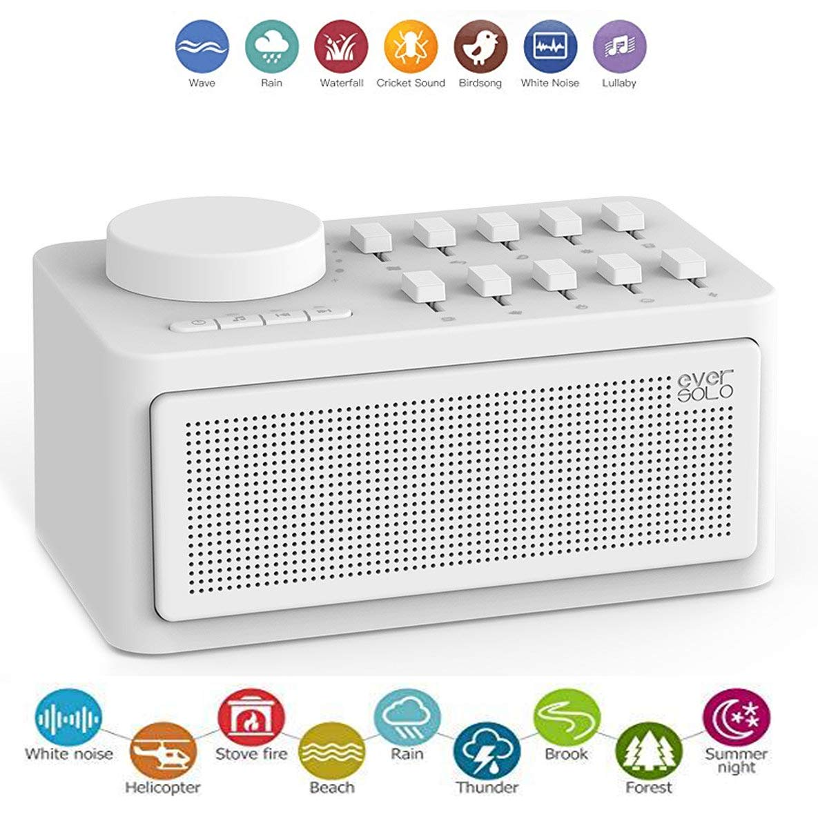 Zidoo Eversolo Sleep Therapy Sound Machine, Natural White Noise Machine, Sound Spa Relaxation Machine for Baby Adult and Traveler