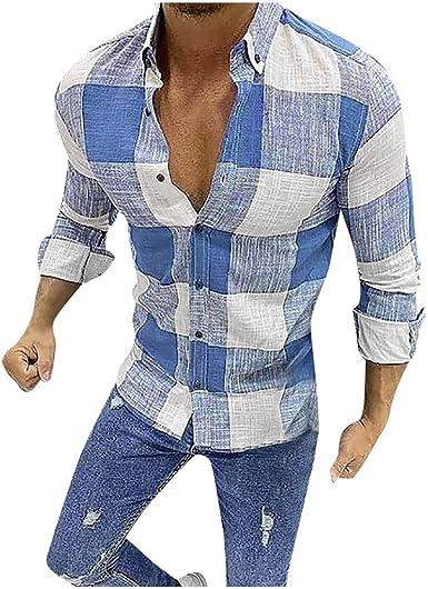 SO-buts Hombres Otoño Invierno Moda Camisa a Cuadros De Manga ...