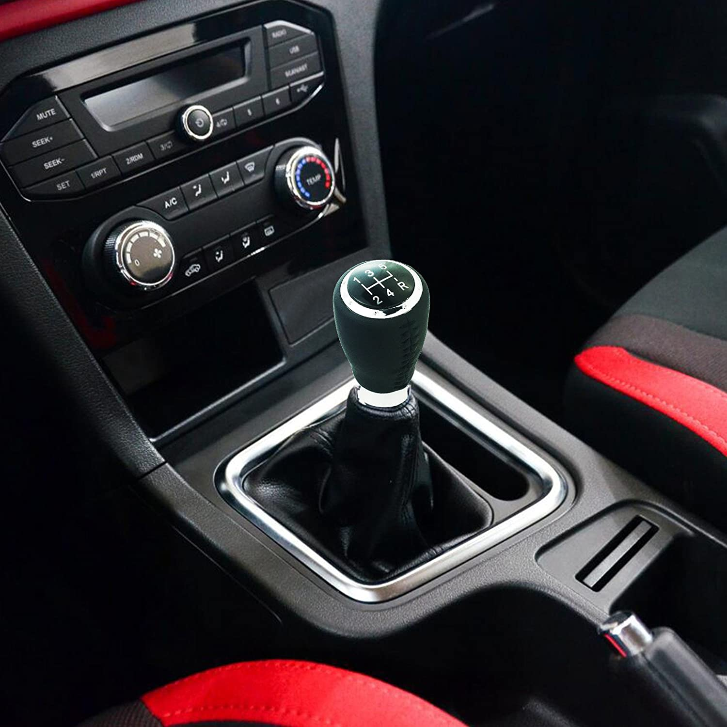 Black, Red Arenbel Leather Shifter Knob 5-Speed Gear Shifting Lever Head Car Stick Speed knobs fit Most Universal Manual Vehicle,