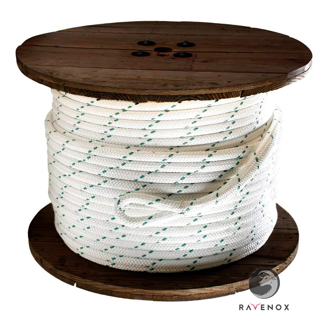 Ravenox Double Braid Polyester Rope | Made in USA |(1/2'' x 300 FT)(White, Green Tracer)| Berry Compliant | Pulling Line, Rigging Halyard, Safety Cord, Ladder Cordage, Trawl Sling, Dielectric & Conduit