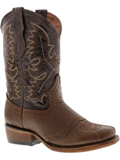 Kid/'s Boys New Genuine Leather Durbale Cowboy Western Boots Square Toe Brown