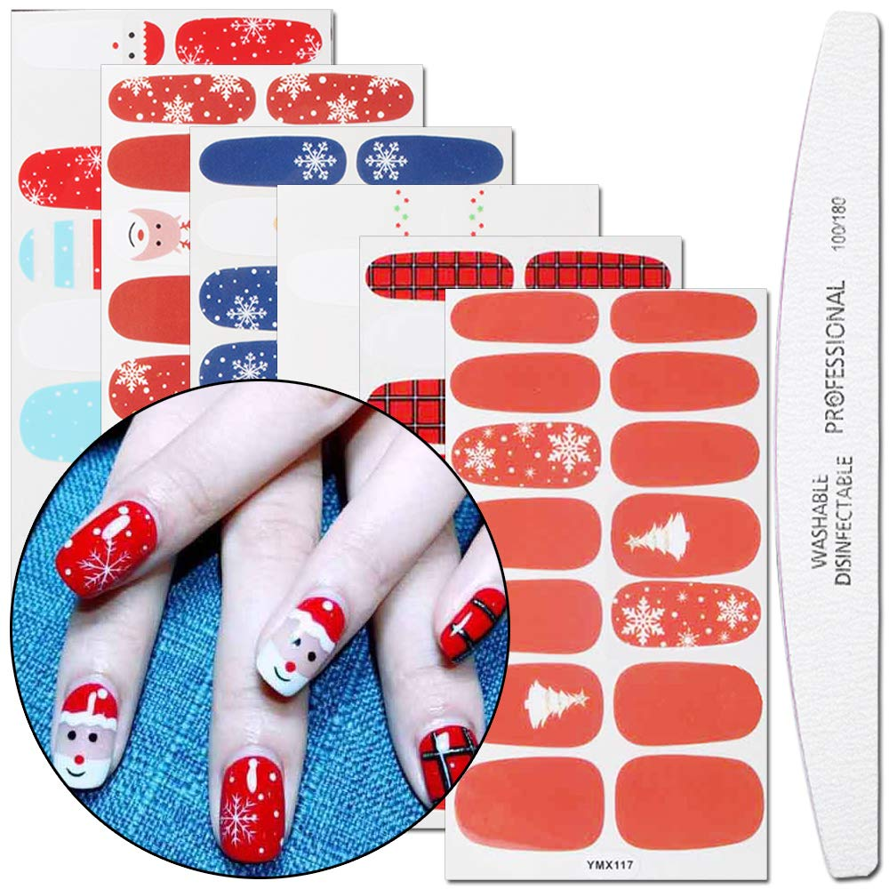 WOKOTO 6 Sheets Christmas Nail Art Polish Wraps Stickers With 1Pcs Nail File Snowman Deer Winter Adhesive Manicure Decal Strips Hengxing