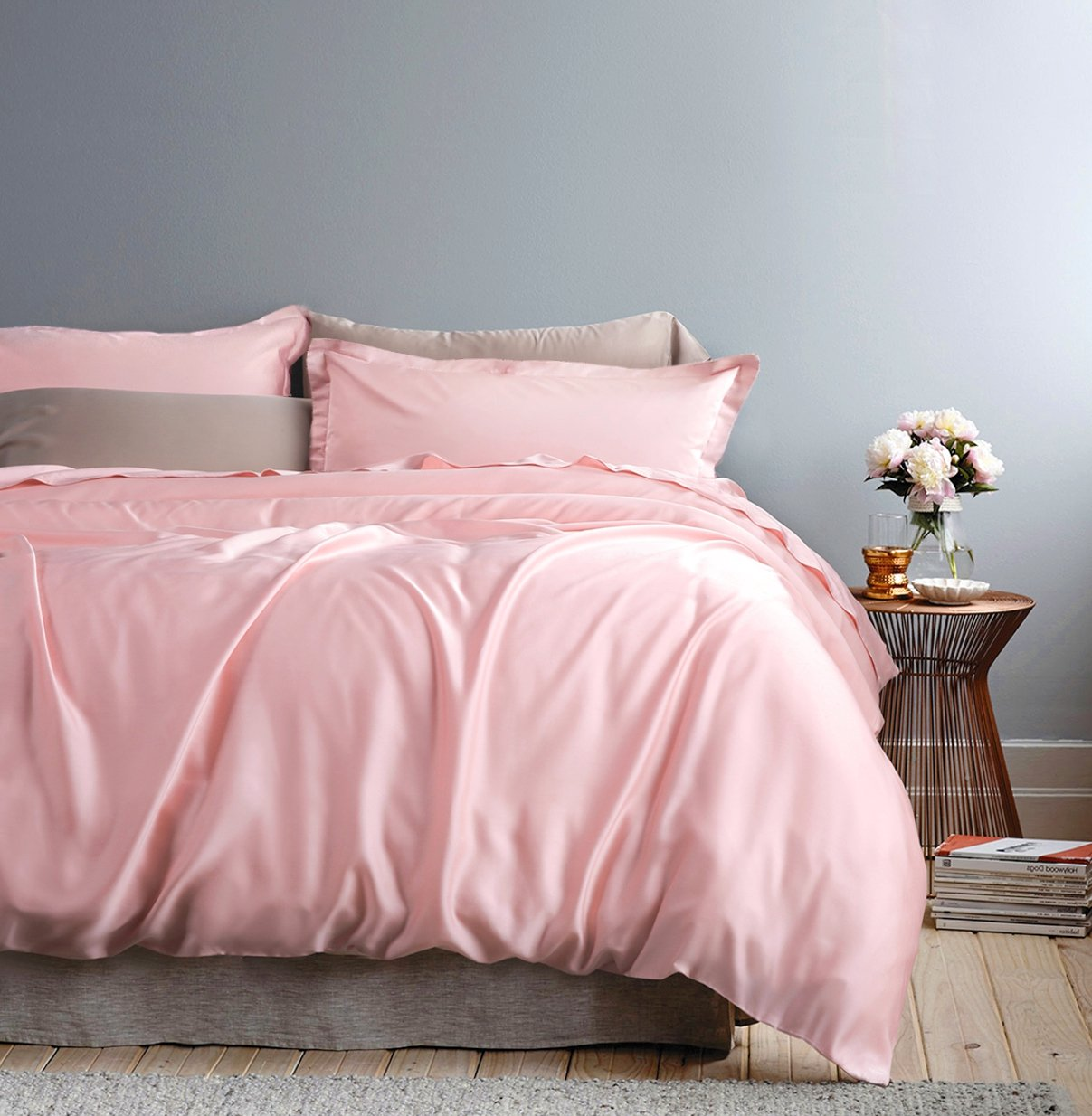 Solid Color Egyptian Cotton Duvet Cover Luxury Bedding Set Queen, Cotton Candy