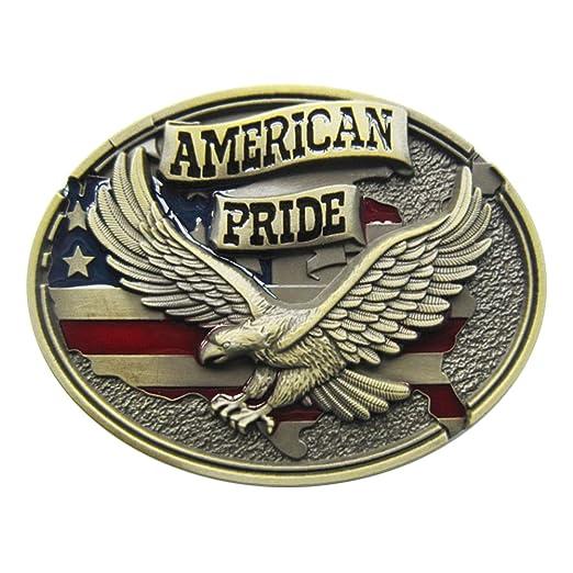 92f01f3f0 Amazon.com  New Oval Western American Pride Fly Eagle Vintage Belt Buckle  Gurtelschnalle Boucle de ceinture (Antique Bronze Plated Color)  Clothing