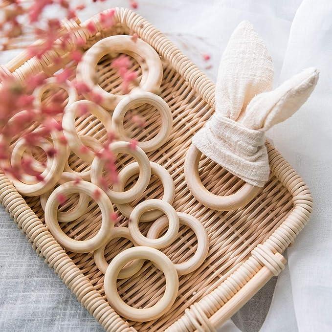 Mamimami Home Perlas de ganchillo Teether de madera con 20 mm de madera 50pc ganchillo de los granos redondos de madera de bolas de punto para la ...