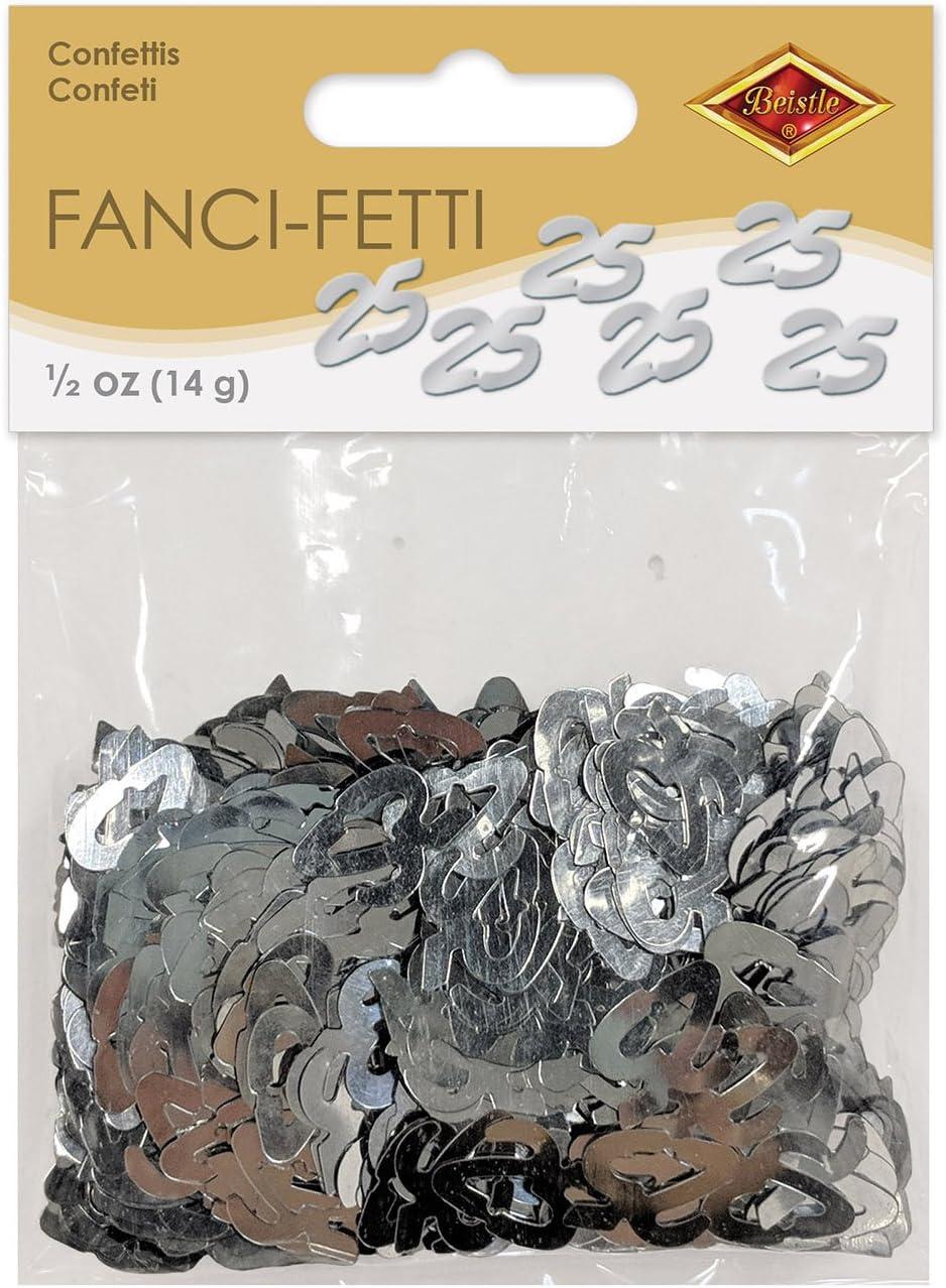 Amazon Com Beistle Fanci Fetti 25 Silhouettes Confetti 1 2 Ounce Silver Childrens Party Confetti Kitchen Dining
