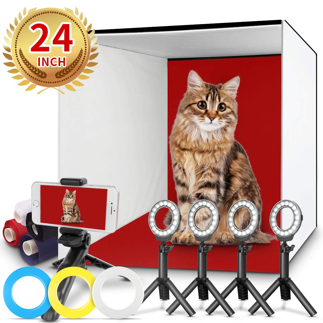 Photo Studio Box, FOSITAN 24x24 inches Table Top Photo Light Box Continous Lighting Kit with 5 Tripods, 4 LED Ring Lights, 4 Color Backdrops & a Cell Phone Holder for Photography by FOSITAN