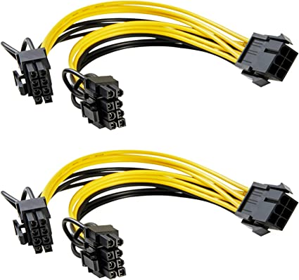 3 Pack 6 Pin Female To 2x 6 Pin Male PCI Express Power Splitter Y-Cable 8 Inch