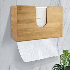 Foonii Paper Towel Dispenser Bamboo Countertop Multifold Paper Towel Holder, Hand Towel Dispenser with Wall Mount/C-Fold/Z-Fold/Trifold, for Home/Kitchen/Bathroom/Restaurant