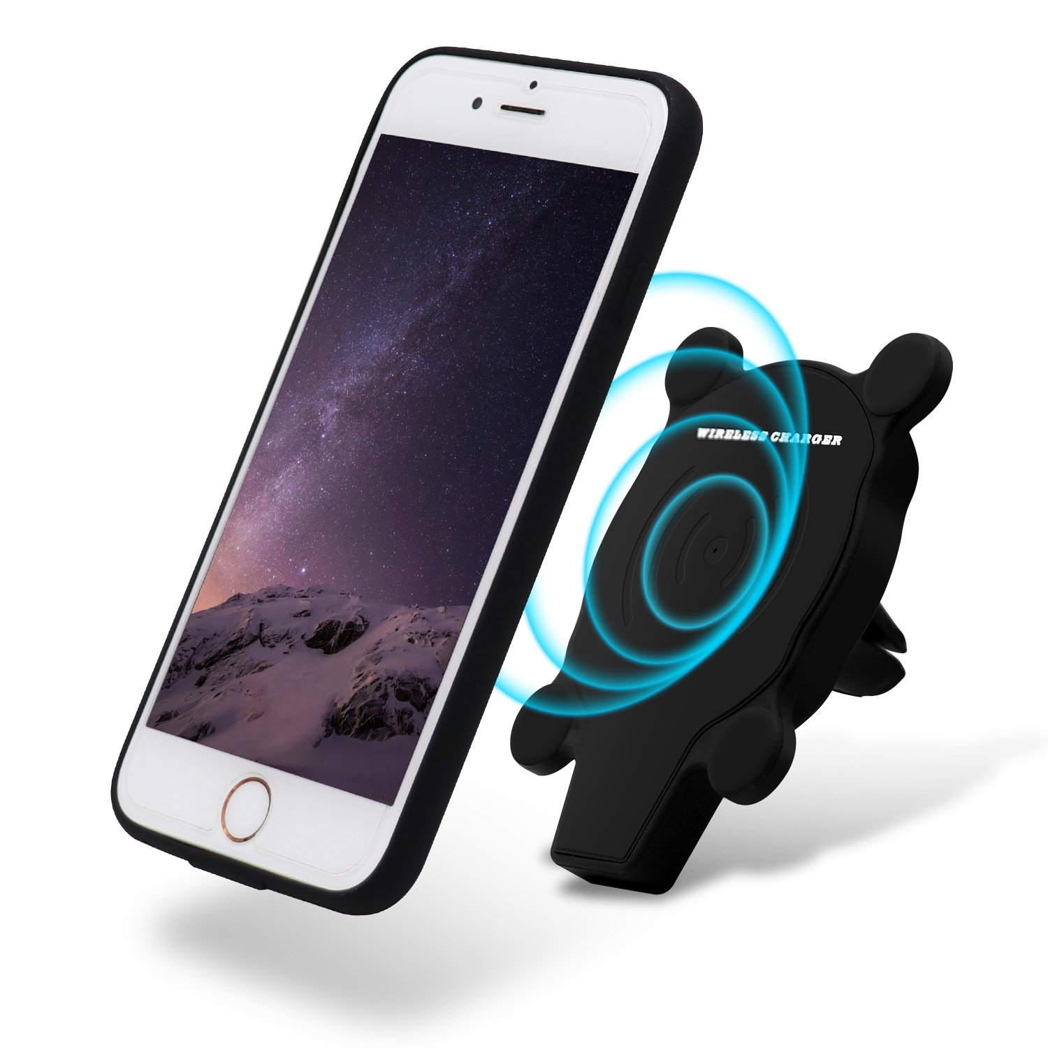 PHILWIN Fast Wireless Car Charger, Magnetic Car Mount Air Vent Phone Holder Cradle with Phone Case for iPhone 6 / 6s / 7 (360°Rotate Wireless Charger & Phone Case) (for iphone 6/6s/7)