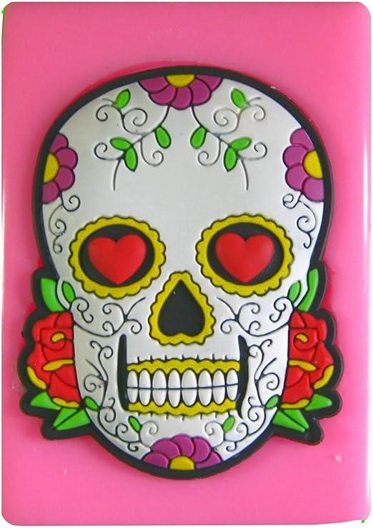 Flores del cráneo del tatuaje y ojos del corazón Kitsch Molde de ...
