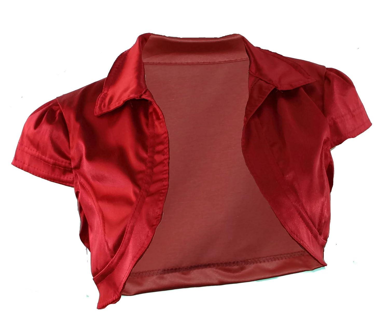 #994 Damen Luxus Satin Bolero Kurzarm Schwarz Beige Rot Weiss 34 S 36 M 38 L 40 XL