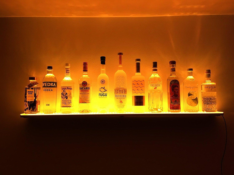 Home Bar Lights 46 LED Lighted Liquor Bottle Display Shelves