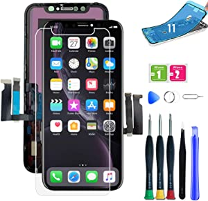 for iPhone 11 Screen Replacement LCD Screen Replacement Kit Assembly with Tools, Waterproof Adhesive, Protector + Face ID (Model A2111, A2223, A2221)