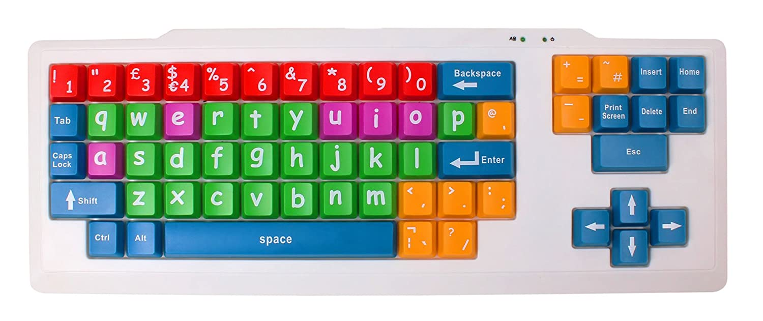 """DURAGADGET Colourful """"Kid's Proof"""" Childrens, Special Needs Or Sight Impared PC Keyboard PS2/USB - Great For Teaching / Learning"""