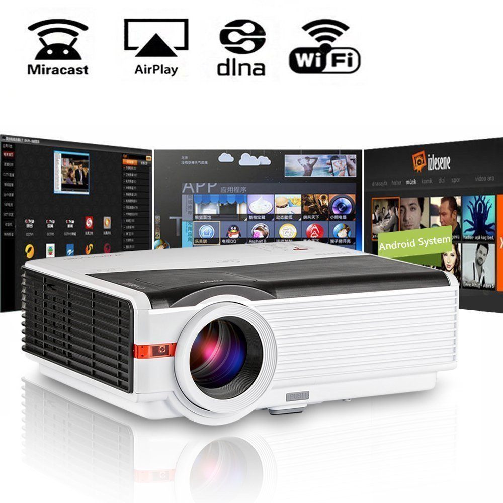 200'' LCD LED HD Android Projector Wifi 4200 Lumen WXGA, Multimedia Home Cinema Theater Video Projector 1080P Support HDMI VGA USB SD AV TV Interface for Movie TV Video Game Home Outdoor Entertainment