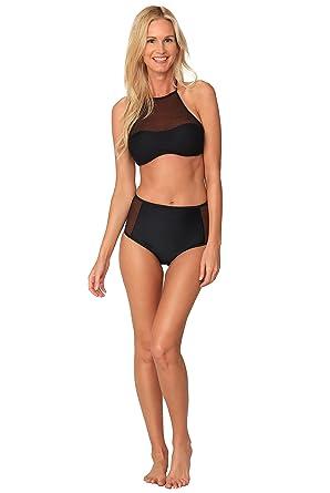 4717e51644 Amazon.com  Ingear Mesh High Neck Bikini Set Fashion Athletic Bathing Suits  Beachwear (Black)  Clothing