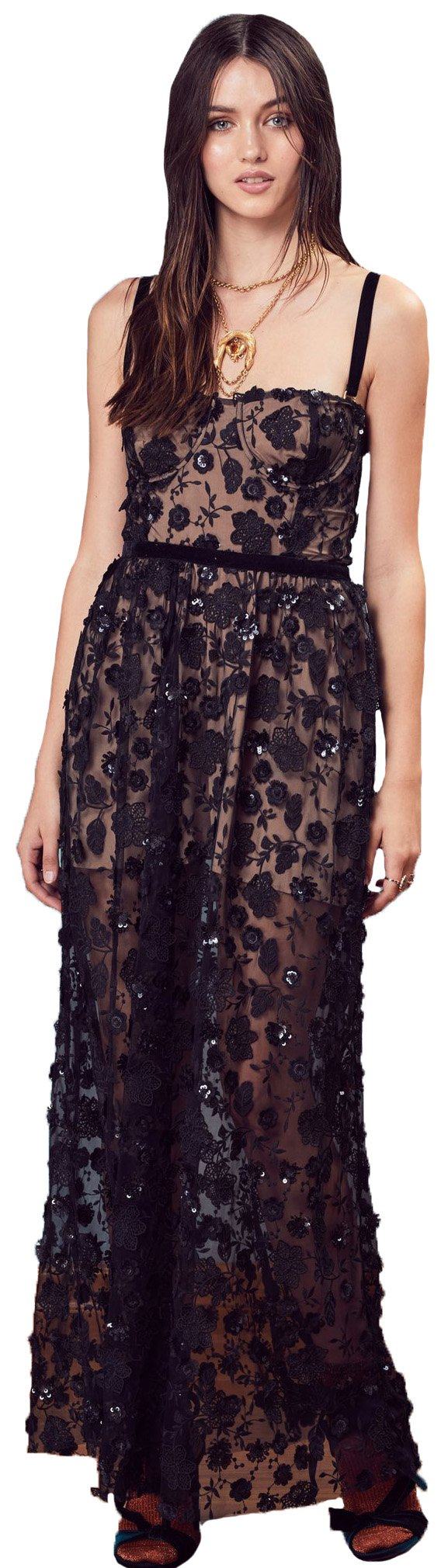 For Love & Lemons Beatrice Strappy Maxi Dress In Black, XS by For Love & Lemons (Image #1)