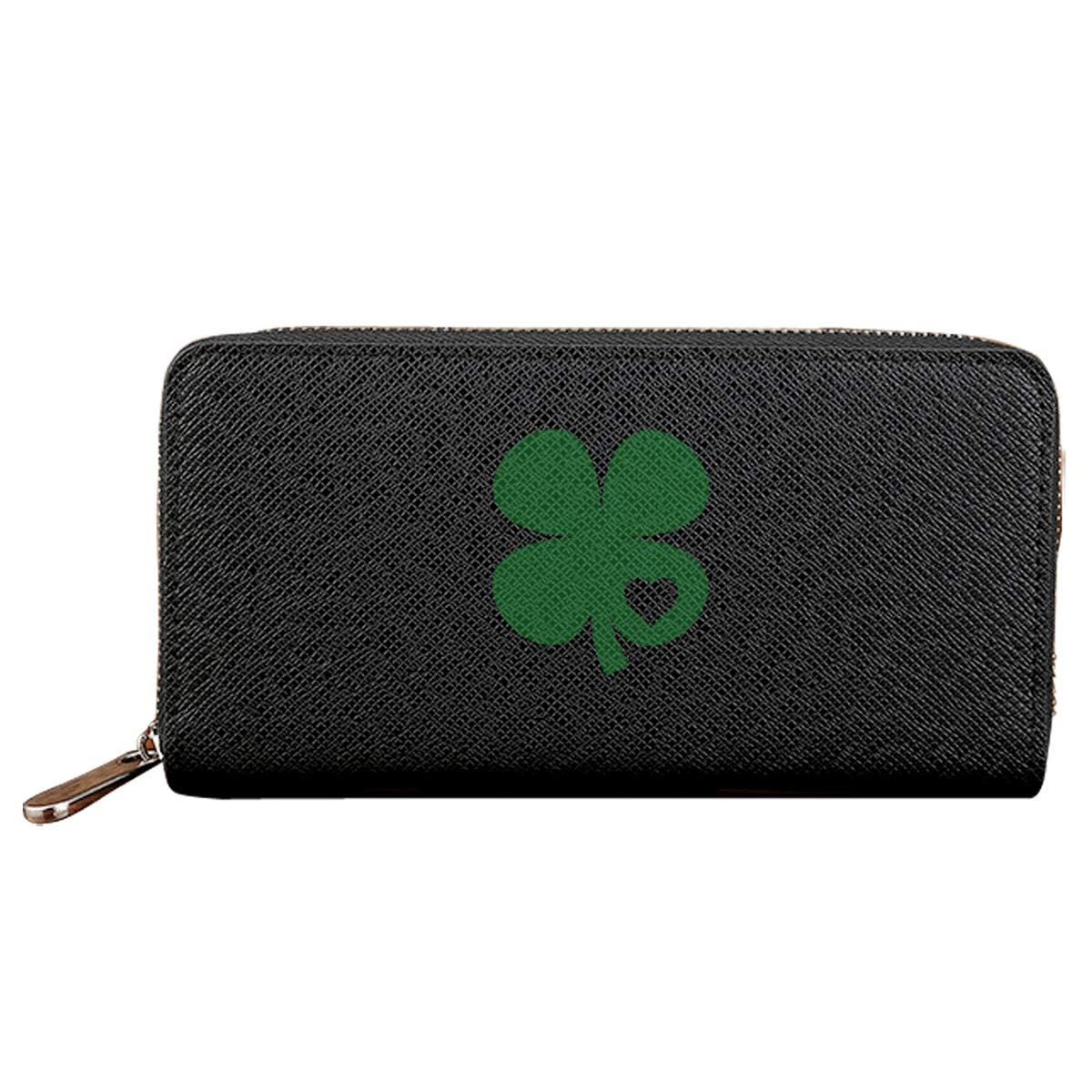 Patricks Day Long Wallets PU Leather Zipper Irish Green Clover Heart St