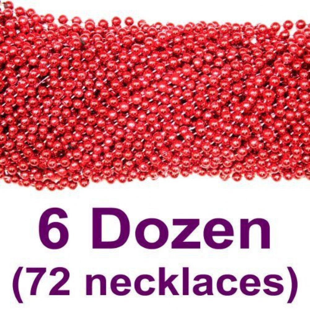 33 inch 07mm Round Metallic Red Mardi Gras Beads - 6 Dozen (72 necklaces) Mardi Gras Spot