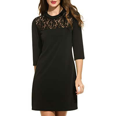 ACEVOG Women's Vintage V-Neck Lace 3/4 Sleeve Wrap Pleated A-line Swing Cocktail Party Dress at Amazon Women's Clothing store