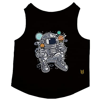 6b7c8a18462d33 Ruse Cotton Astronaut Ice Cream Printed Black Sleeveless Pet Tank T-Shirt Tees  for Dogs in Small  Amazon.in  Pet Supplies