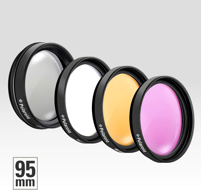 Polaroid Optics 95mm 4-Piece Filter Kit Set includes Nylon Carry Case UV,CPL, Warming,/& FLD Compatible w// All Popular Camera Lens Models