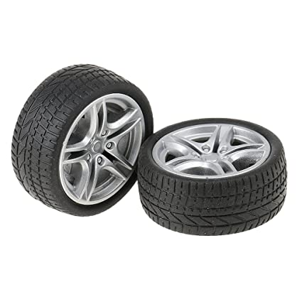 MagiDeal 2pcs Neumático de Goma Rueda para Fabricación de Camión Autobús de Juguetes Accesorio para Niños