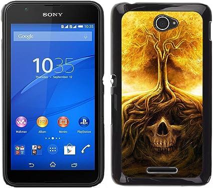 For Sony Xperia E4 Case , Cráneo Árbol Fuego Significado Death Metal