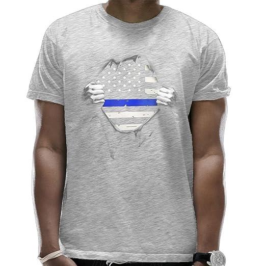 Camisetas de policía patriótica con diseño de bandera de Estados Unidos de  la línea azul delgada para hombre a398d6b564f96