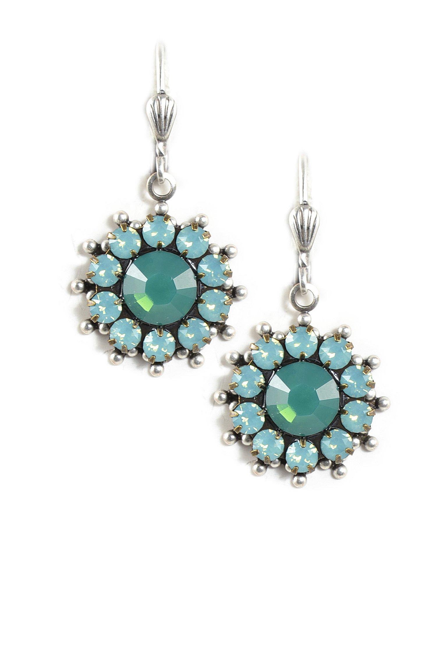 Clara Beau PalaceGreen color combo Swarovski Glass Crystal Round Silvertone Dangle Earrings E626 S-PlcGrn