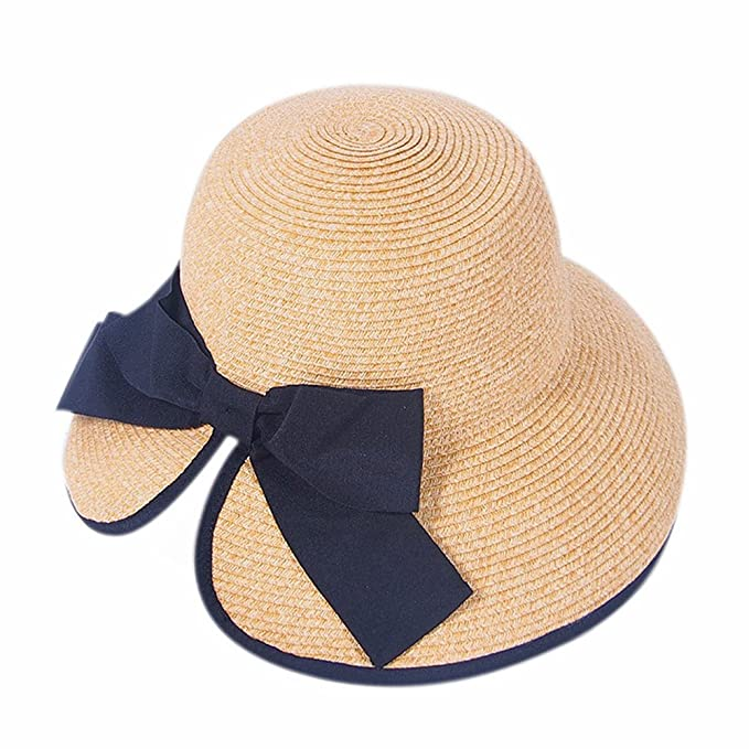 c7c874ed85148 Nonenolove Wholesale Summer Women Beach Hat All-Match Fashion 100% Paper  Straw Hat with Bowknot (Khaki) at Amazon Women s Clothing store
