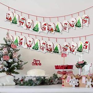 "OurWarm 2019 Advent Calendar Christmas Decorations, 24 days Dimity Burlap Gift Bags Favors for Christms Toys Home Decor (6.3"" x 4.3"" Christmas Tree, Santa Claus, Christmas Snowman)"