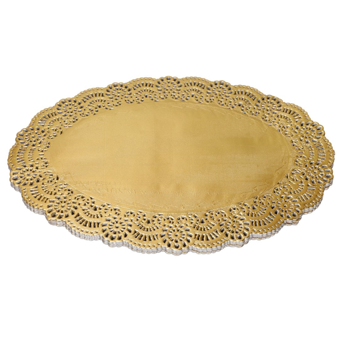 Geeklife Oval Lace Paper Placemats, Gold Foil Placemats, Disposable Paper Doilies, 10.5 x 13.8 Inches,60 Count