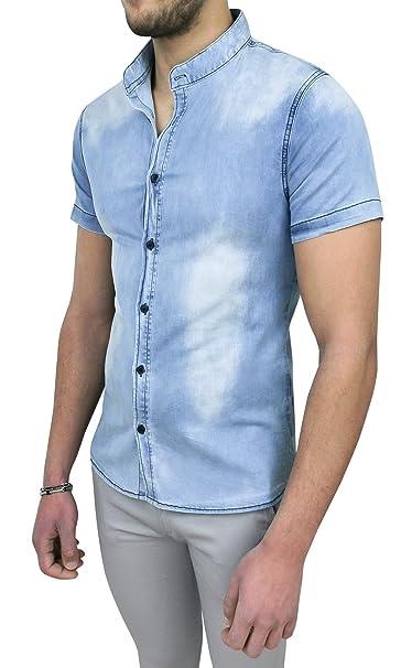 save off 7ac9b 2e538 Evoga Camicia Jeans Uomo Coreana Slim Fit Casual Denim a ...