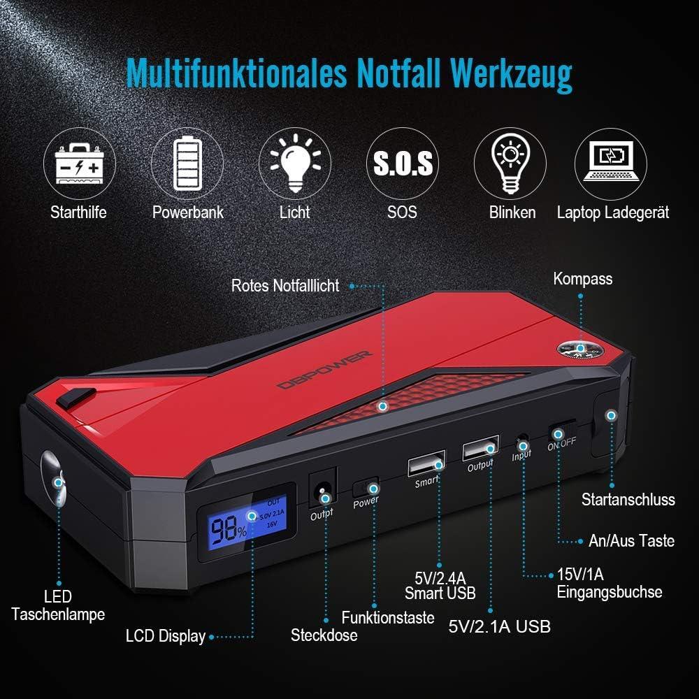 DBPOWER 600A 18000mAh Tragbarer Auto Starthilfe Powerbank LED-Taschenlampe und Kompass bis zu 6,5 l Benzin, 5,2 l Dieselmotor Notbatterie-Booster-Pack mit Zwei USB-Ladeausg/ängen